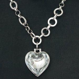 Big Heart Gem Statement Necklace